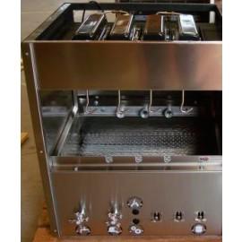 Churrasqueira residencial a gás (RG 300) em inox 430 com bandeja para água e 7 espetos rotativos em 2 galerias