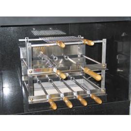 Grill especial com 7 espetos rotativos em 2 galerias em inox 304 alto padrão para churrasqueira em alvenaria.