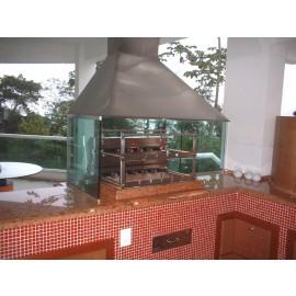 Grill normal com 7 espetos rotativos em 2 galerias em inox 430 alto padrão para churrasqueira em alvenaria.