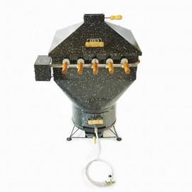Churrasqueira a bafo Apolo plus 5 espetos rotativos (110 v), incluso kit gás e rodinhas