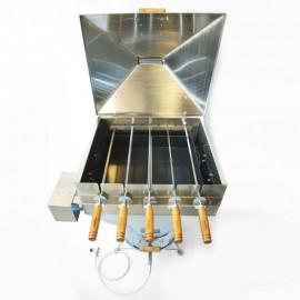 Churrasqueira a bafo Apolo plus inox 5 espetos rotativos (110 v), incluso kit gás e rodinhas