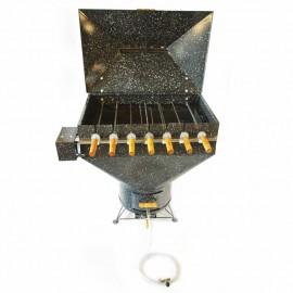 Churrasqueira a bafo Apolo plus 7 espetos rotativos (110 v), incluso kit gás e rodinhas