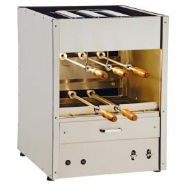 Churrasqueira residencial a gás (RG 300) em inox 430 com bandeja para água e 5 espetos rotativos em 2 galerias