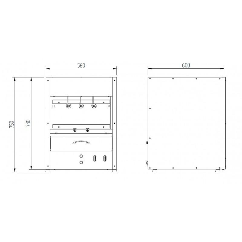 Desenho - Churrasqueira residencial a gás (RC 300) em inox 430 com bandeja para água e 5 espetos rotativos em 2 galerias