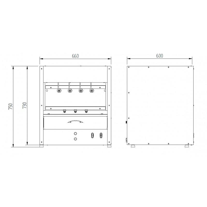 desenho Churrasqueira residencial a gás (RC 300) em inox 430 com bandeja para água e 7 espetos rotativos em 2 galerias