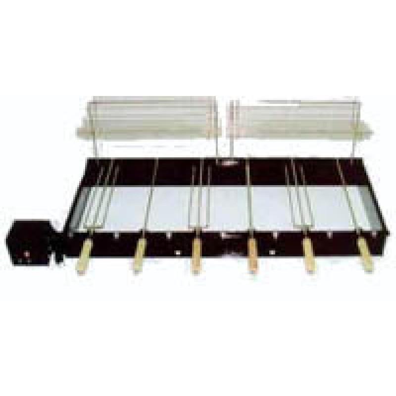 Grill com 6 espetos rotativos  110/220V + 3 espetos simples + 3 espetos triplos + 2 suportes e 2 grelhas aparadoras de espetos + pegador de carvão)
