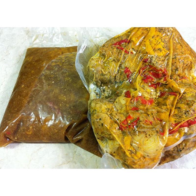 Centro do pernil e molho assados, resfriados e embalados a vácuo